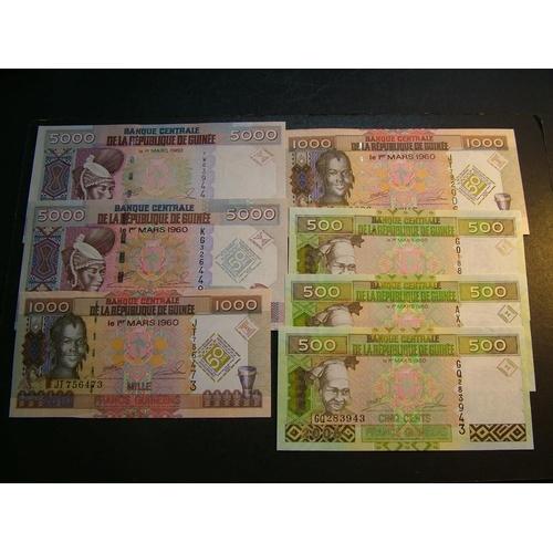 31 - GUINEA.  500 Francs, 2006, P-39a x3.  1000Fr, 1.3.2010, P-43 x2 and 5000Fr, 2012, P-41b & 1.3.2010, ...