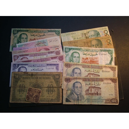 38 - MOROCCO.  2 Francs, ND(1944).  10Fr, 1.5.1943.  5 Dirhams, 1970.  10D (1970, 1985, 1987 1st & 2nd is...