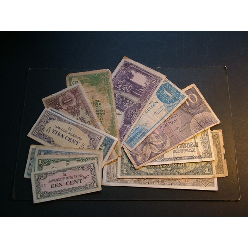 39 - NETHERLANDS EAST INDIES.  DE JAVASCHE BANK, 1 Gulden, 1948 & 10G, 1946.  WWII JIM, 1942 issue x11, 1...