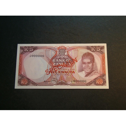 53 - ZAMBIA.  5 Kwacha, ND(1973), optd. SPECIMEN, serial number 1/F 000000, P-15s, UNC...