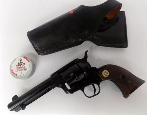 Six shooter blank revolver with blanks and hosiery