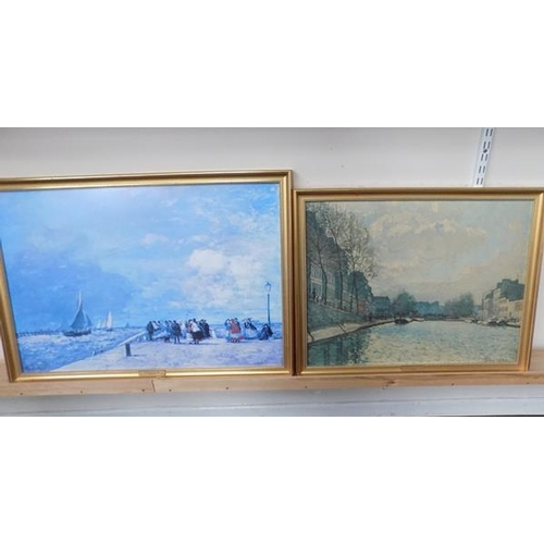 27 - 2 framed prints - 'E.Boudin' and 'A.Sisey'...