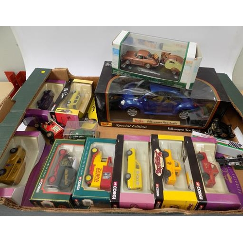 44 - Box of boxed Corgi Diecast cars, vans and large scale car (boxed)...