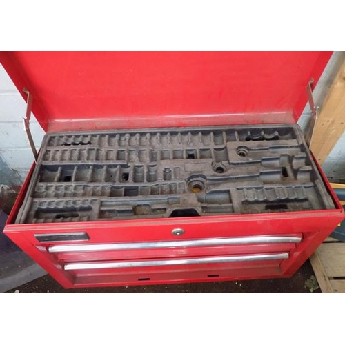 481 - Red Clarks tool box inc socket tray...