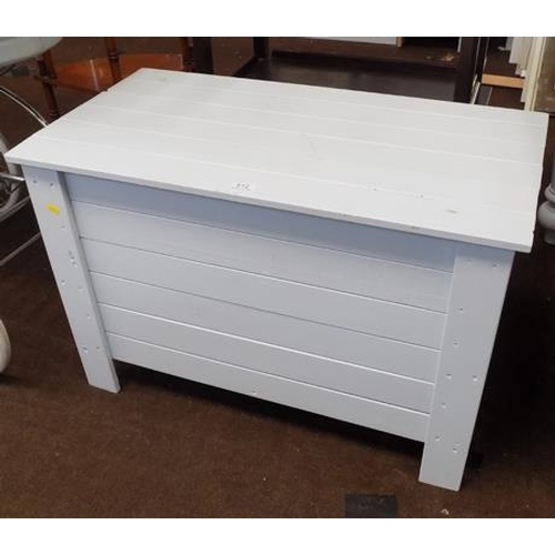 512 - Light grey wooden toy chest...