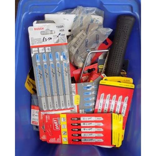 518a - Blue tub of new DIY tools inc blades...