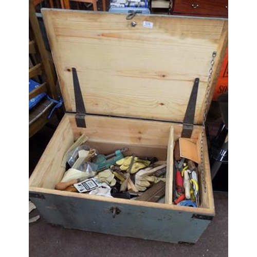 528 - Wooden chest & tools...