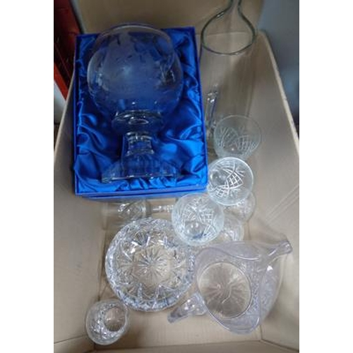 8 - Box of mixed glassware, incl. cut glass...