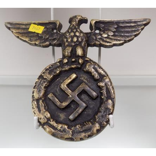 15 - Metal Nazi plaque approx. 8 1/2