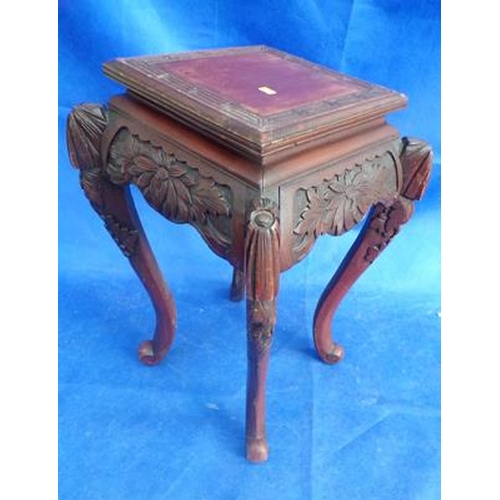 512 - Ornate square wooden side table...