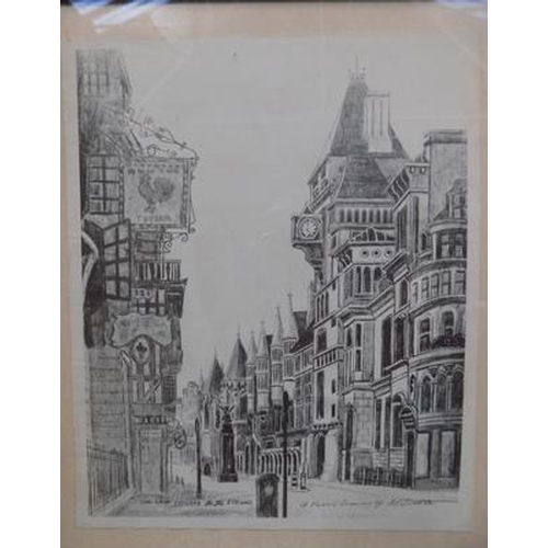 12 - Two pencil drawings titled; 'The Law Courts in the Strand' and 'St Bartholomew the Great, Smithfield...