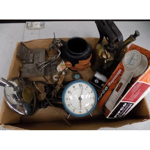 2 - A box of mixed items and collectables; including blowlamp, mug and keys...