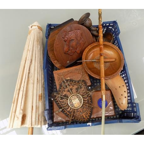 8 - A box of mixed items; including treen and a parasol...
