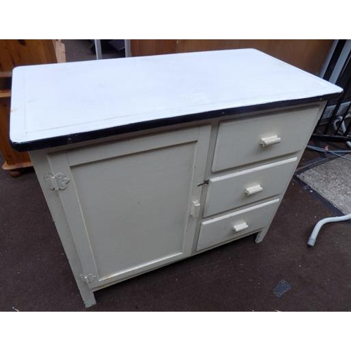 522 - Enamel top kitchen unit...
