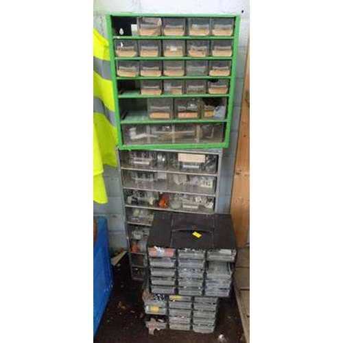 493 - Selection of screw and nut bolts, trays and contents...