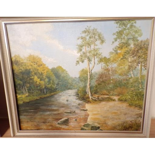 24 - Original oil painting of a River scene, Yorkshire artist - Houghton...