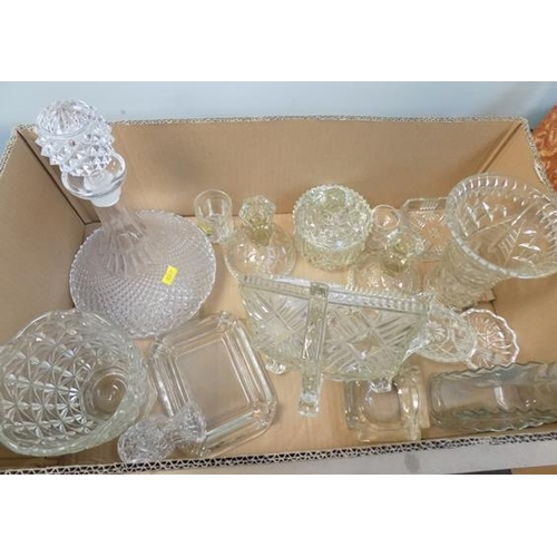 36 - Selection of vintage glass including decanter...