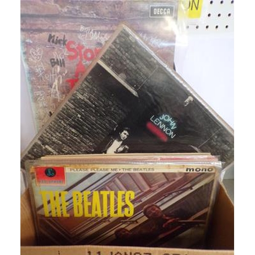 51 - Box of records including Beatles, Stones, Lennon, Monkees, Police, Blondie etc....