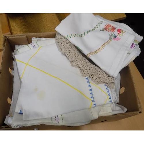 7 - Box of material, linen, lace & crochet...