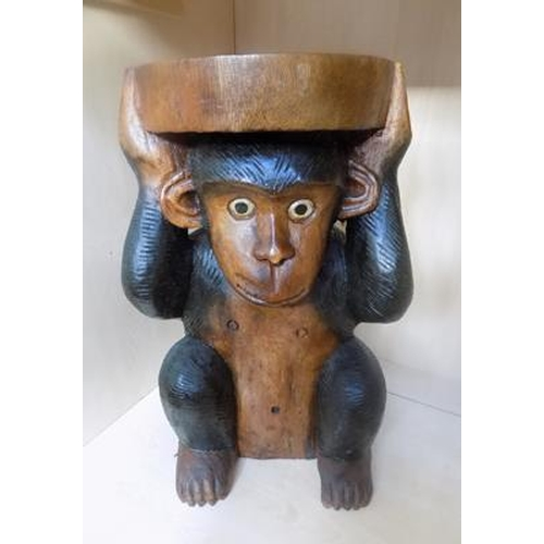 35 - Carved monkey side table/seat - 20