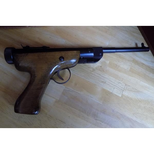 4 - Vintage Slavia Air Pistol with box and pellets. 1.77...