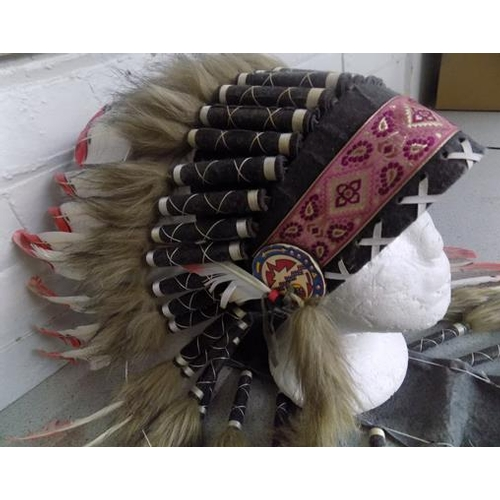 45 - Handcrafted Indian war chief-war head dress, genuine feathers etc...