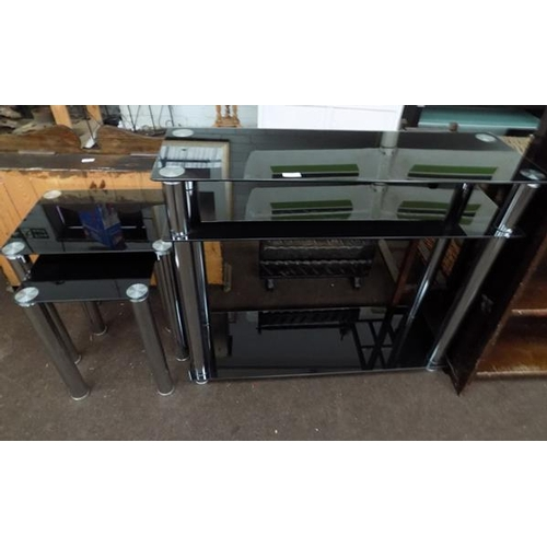 520 - Black & chrome glass side table + nest of two tables...