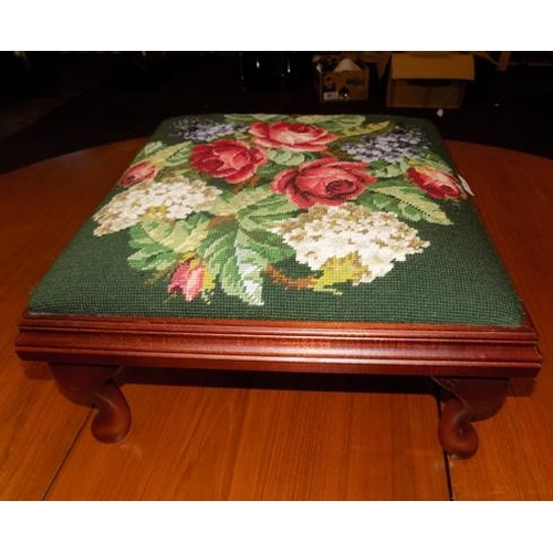 527 - Cross stitch tapestry foot stool...