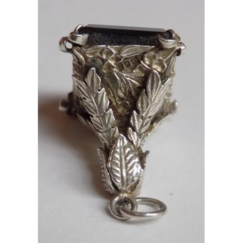 54 - Vintage Sterling Silver and Smokey Quartz fob...