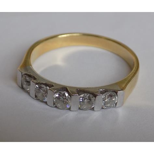 55 - 18ct gold ring with 5 diamonds (all tested) and certificate of authenticity...