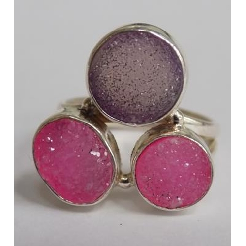1155 - Silver pink drusy ring...