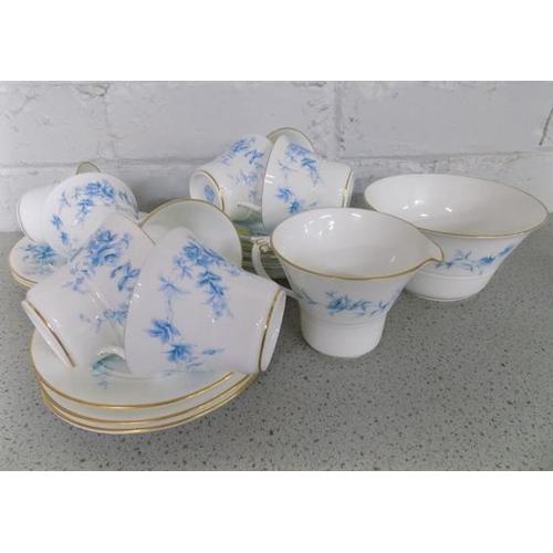 1124 - Royal Worcester Grainger 3546, part set - 10 saucers, 8 cups, sugar bowl and milk jug (sugar bowl-ai...