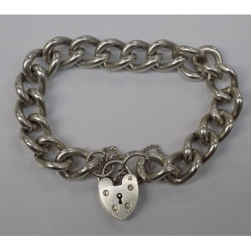 1150 - Heavy silver heart padlock bracelet- 52 gms hallmarked 1977...