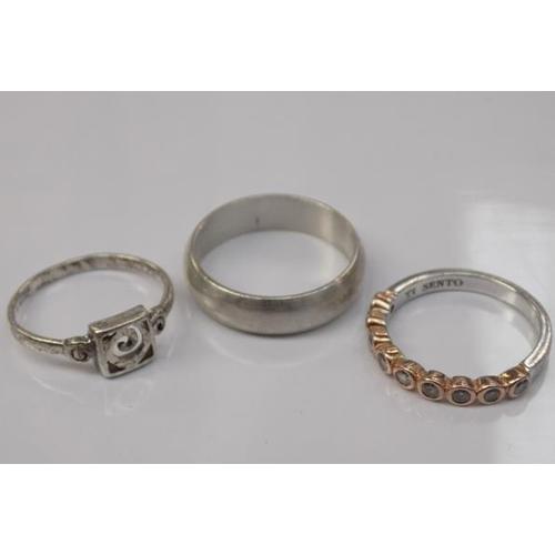 1154 - 3x Silver rings inc Ti Sento...