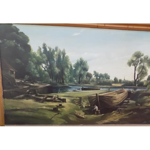 1107 - Large framed landscape by river painting by Geoffrey Beck, 1971...
