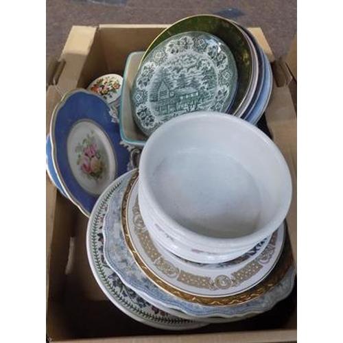 42 - Selection of plates, meat platter, Sadler box and Portmieron dish...