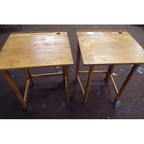 522 - Two collapsible school desks...