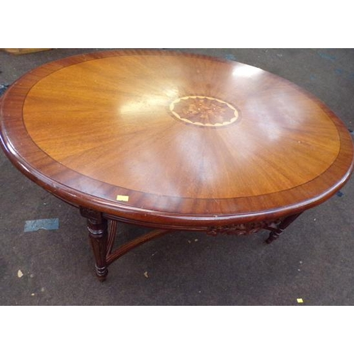 533 - Inlaid oval table...