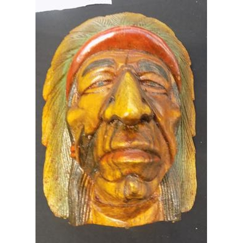 10 - 12 inch carved Indian head...