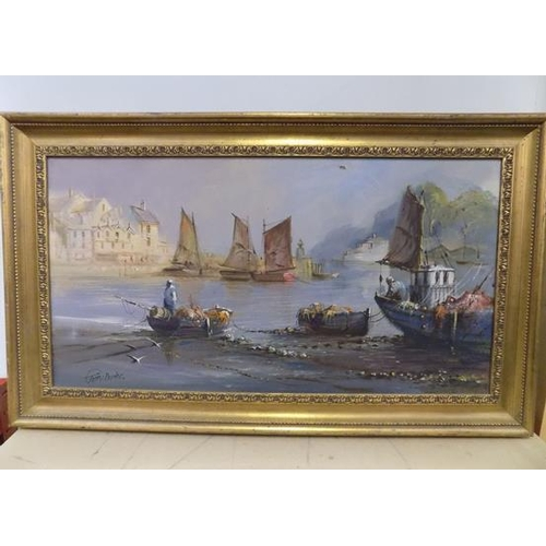 27 - Original oil on canvas in gilt frame, signed by the artist, Terry Burke, 35 x 20 1/2 inches...