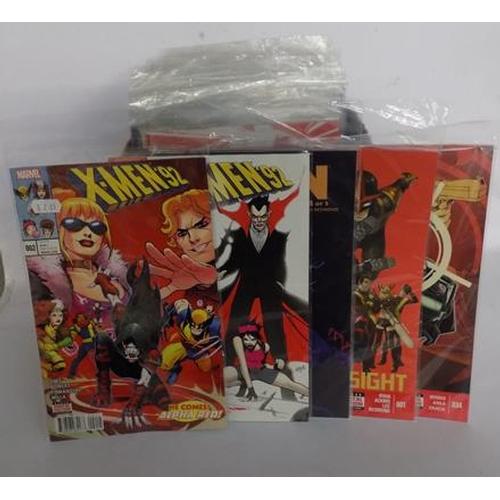 5 - Approx 100 x Marvel comics incl. X-Men/ Hawkeye/ Black Knight/ Spiderman - odds several no.1s...