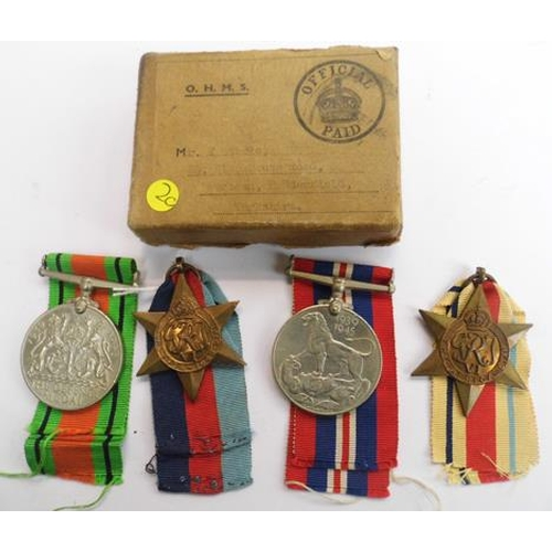 21 - WWII era - British Military issue, four medal group & box of issue...