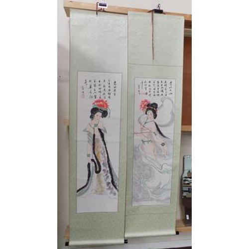 11a - Two erotic Japanese wall hangings of Geisha girls...