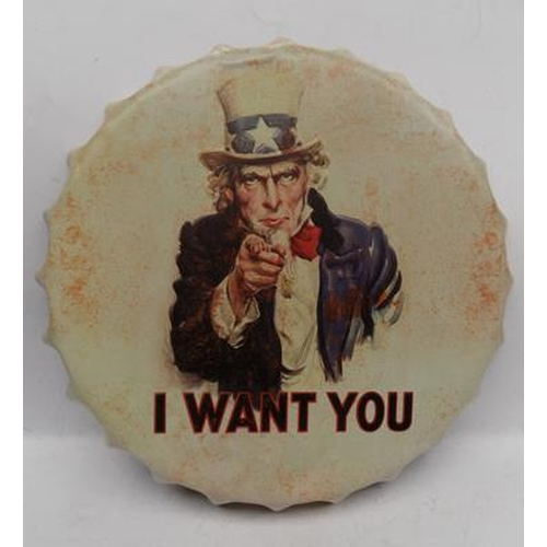 16 - Tinplate bottle cap - 'I want you'...