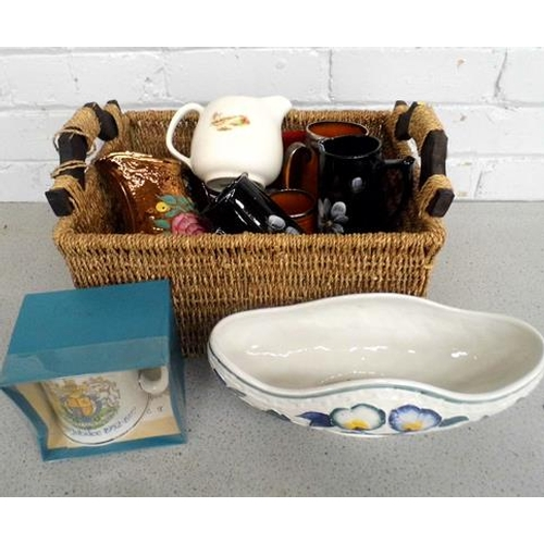 1a - Basket of mixed pottery inc jugs & commemorative items...