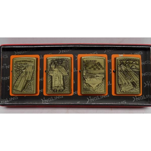 20 - Set of 4 boxed lighters - air craft carrier themed...