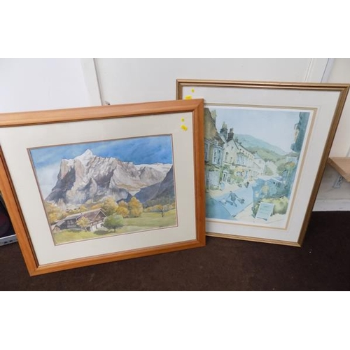 28 - Framed watercolour (Hastor signed) and ltd. edition print (136/250) by G.Walliams. 21.5 inches x 26 ...