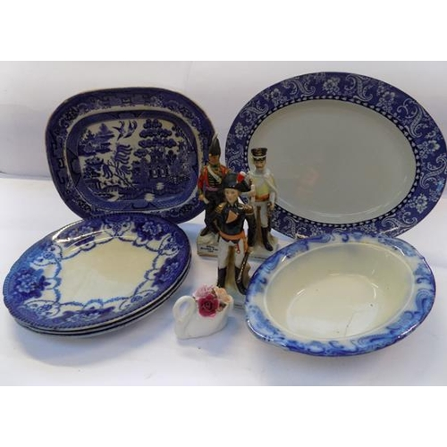 36 - Box of mixed pottery, incl. blue & white & figurines...