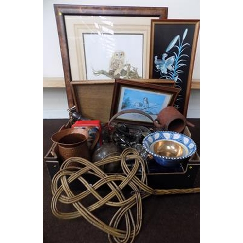 37 - Box of collectable and framed pictures incl. 1950's Gallery Dray - jelly moulds, brass jam pan...