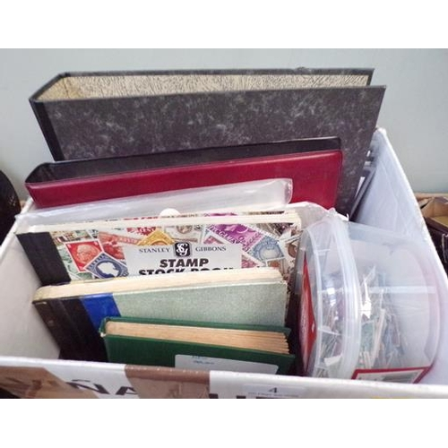 4 - Box of stamp albums incl. First Day covers, stock books and loose items...